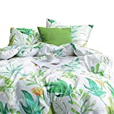 Wake In Cloud - Floral Duvet Cover Set, 100% Cotton Bedding, Botanical Flowers and Green Tree Leaves Pattern Printed on White, with Zipper Closure (3pcs, King Size)