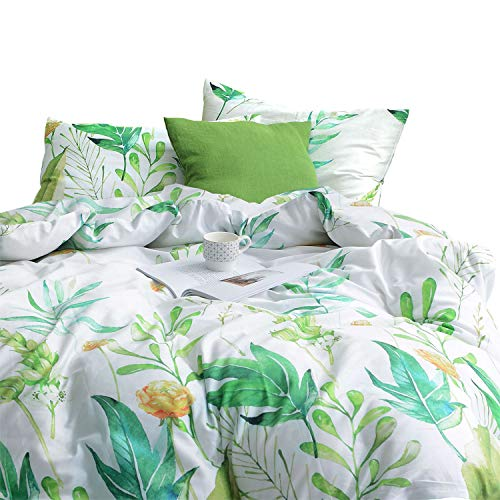 - Wake In Cloud - Floral Comforter Set, 100% Cotton Fabric with Soft Microfiber Fill Bedding, Botanical Flowers and Green Tree Leaves Pattern Printed on White (3pcs, Queen Size)