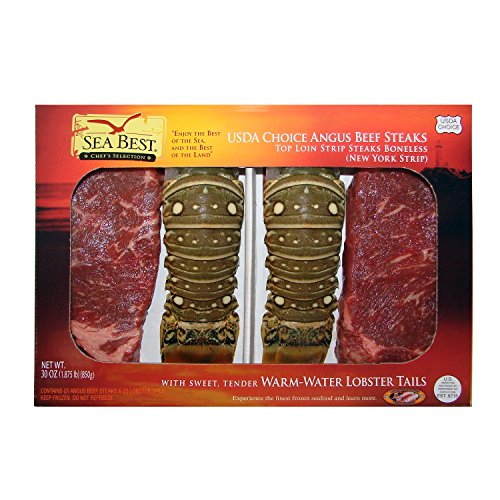 (Sea Best NY Strip Steak and Warm Water Lobster Surf and Turf, 30 Ounce)
