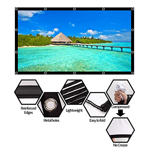AIEX 120 Inch 16:9 4K HD Projector Screen Portable Foldable Anti-Crease Front and Rear Video Projection Screen Outdoor Indoor 3D Movie Projector Screen for Home Theater Office Double Sided Projection Photo #4