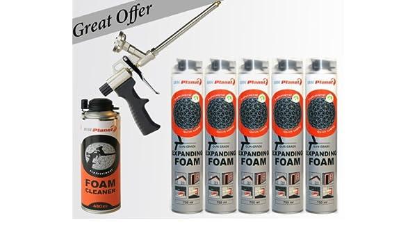 5 botes de 750 ml extensible + + pistola Poliuretano de espuma especial para limpiar 480 ml: Amazon.es: Bricolaje y herramientas