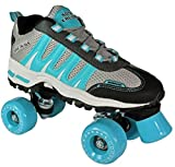 Pacer Roller Skates for Adults | Sonic Cruiser Unisex Mens and Womens Rollerskates for Girls and Ladies - Quad Derby Skates for an Adult Man or Woman - Indoor/Outdoor (Teal Men 7/Women 8)
