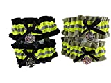 Firefighter Wedding Garter Set able to personalize garters bunker gear look