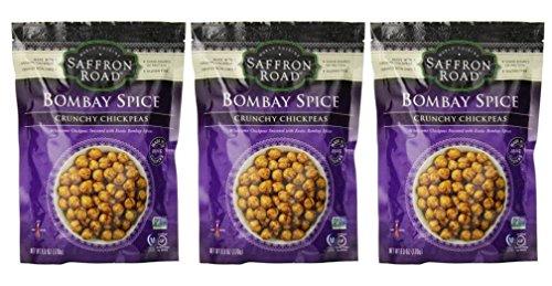 Saffron Road Crunchy Seasoned Chickpeas, Bombay Spice Flavor - Pack of 3, 6 Ounces each