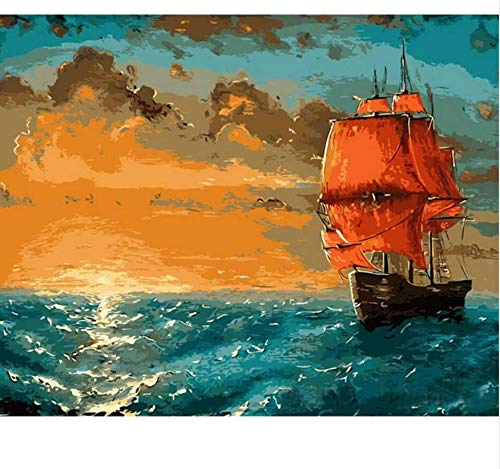 Sunrise Sea Boat DIY Pintura por Números Kit Pintura sobre Lienzo Pintura Caligrafía Paisaje Decoración del Hogar 40X50Cm Sin Marco