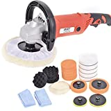 Goplus 7'' Electric Car Polisher 6 Variable Speed Buffer Waxer Sander Detail Boat w/Accessories