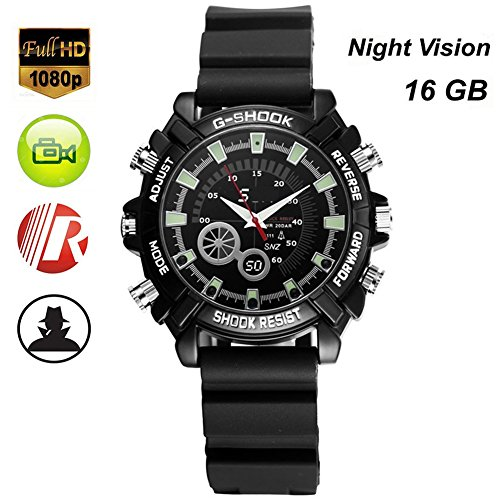 Hanpeng 16GB Wrist Smart Watch Camera HD 1080P Infared Night Vision Mini Camera