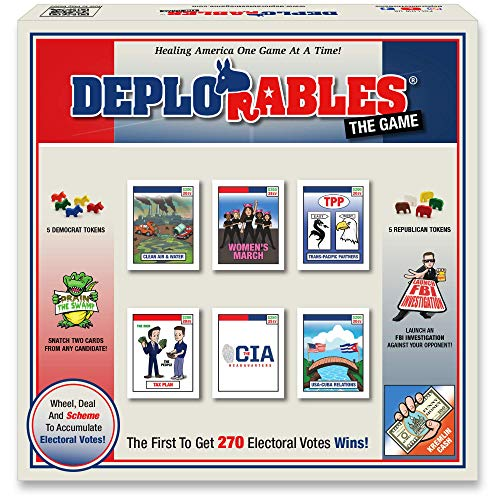 Deplorables Bipartisan Game: Election Game for Game Nights. Watch Video! Get 270 Electoral College Votes to Win. Drain The Swamp, Launch FBI Investigations, Political Strategy Game, Educational Game