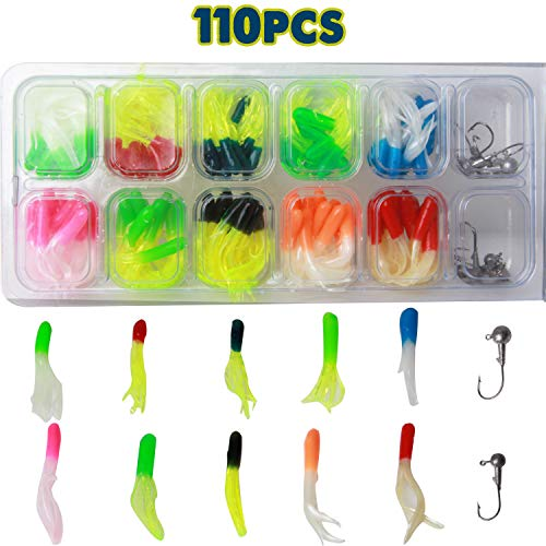 AGOOL Fishing Lures Baits Tackle Kit - 17/40/110pcs Bass Trout Crappie Tube with Jig Head Hooks Artificial Worms Soft Plastic Bait Set Soft Lures for Freshwater Saltwater with Tackle - Tube Lures