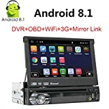 Android 8.1 GPS Navigation for Car Single 1Din in-Dash Car Stereo Audio Video Receiver System Head Unit 7 Inch Capacitive Flip Out Touch Screen Mirror Link Bluetooth WiFi USB/SD/AM/FM/MP5 Car Radio -  Binize