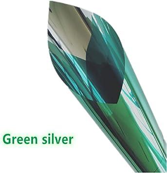 Vinilo Mampara Ducha Ventana Privacidad Película Bloqueador Solar Espejo Tinte Reflectante Espejo Unidireccional Plata Aislamiento Pegatinas Rechazo Uv Decoración Del Hogar-40X100Cm Verde: Amazon.es: Bricolaje y herramientas