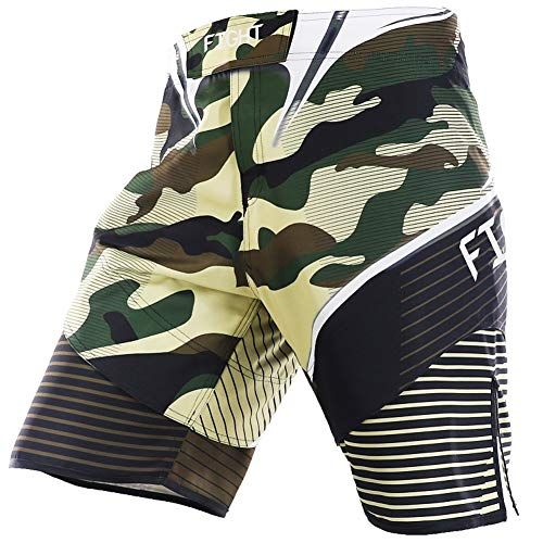(LAFROI Mens MMA Cross Training Boxing Shorts Trunks Fight Wear with Drawstring and Pocket-QJK01)