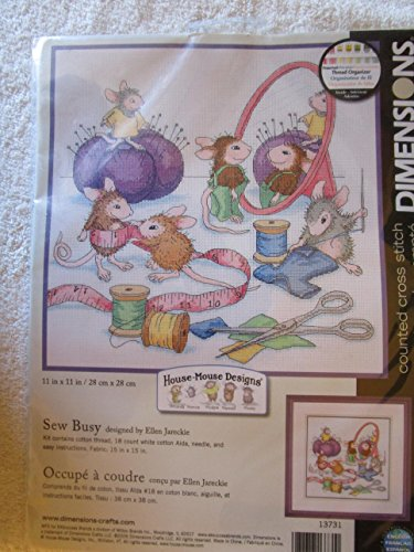 House Mouse Sew Busy Counted Cross Stitch Kit-11x11 18 Count by Dimensions