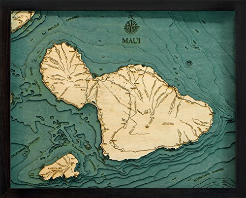 Maui, Hawaii 3-D Nautical Wood Chart, 16'' x 20'' by Woodchart