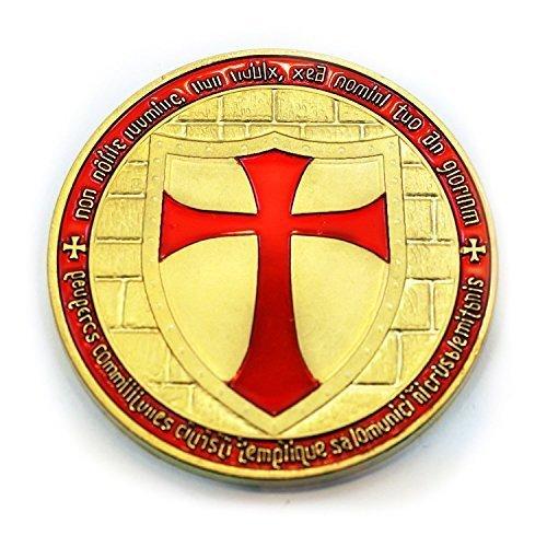 Knights Templar Cross Masonic Freemason Golden Coin + Case (LISTING O... ()