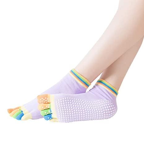 DEtrade - Calcetines de Yoga para Mujer, Antideslizantes ...