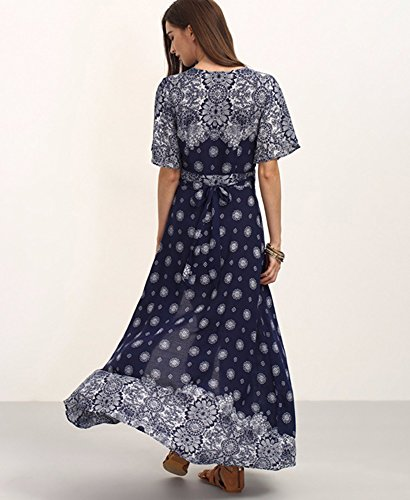 b2af80a36e7a ... Damen V-Ausschnitt Blumenkleid 3 4 Ärmel Maxi Langes Kleid Bohemian  Vintage Sommerkleid Strandkleid