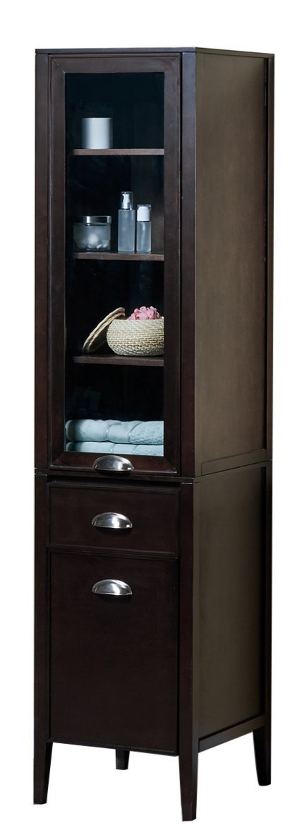 MAYKKE Winston 18 Inch Bathroom Vanity 79 Inch Tall Cabinet, Linen Tower Shelf and Drawer in Birch Wood Chocolate Finish and Brushed Nickel Hardware, Dark Brown Bathroom Vanity Side Cabinet YSA1432101 by Maykke