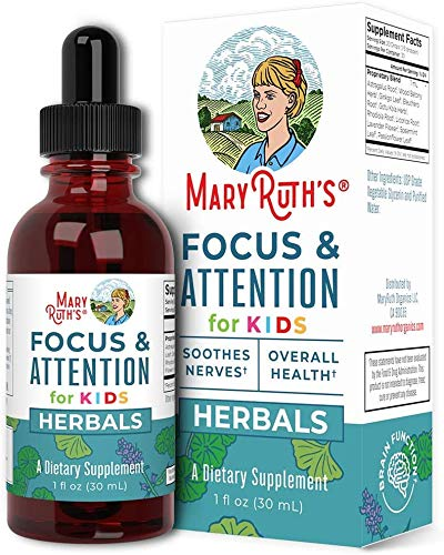 Focus and Attention - Brain Support for Kids by MaryRuth's | Focus & Attention Natural Supplements for Kids | Herbal Blend May Help Improve Focus & Manage Stress