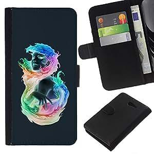 EJOY---La carpeta del tirón la caja de cuero de alta calidad de la PU Caso protector / Sony Xperia M2 / --Muchacha colorida llameante