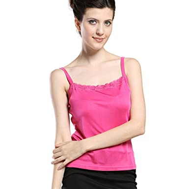 046ffc5bedd91 Forever Angel Women s Knitted Silk Lace Camisole Top Fuchsia Size XS