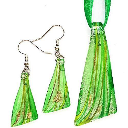 FidgetKute Silver Green Triangle Lampwork Glass Murano Bead Pendant Necklace Earrings Set