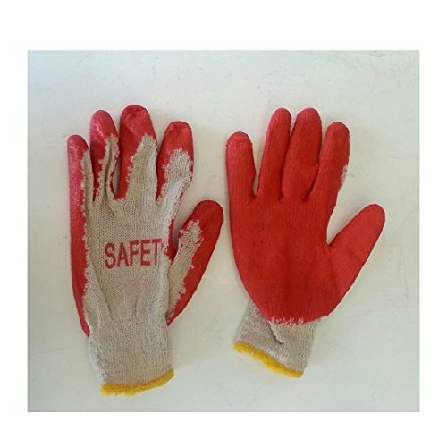 Poly Cotton Canvas Gloves - 100 Pairs Working Gloves Cotton/Poly With Red Latex Coated