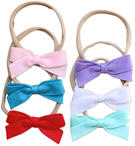 (Cute Baby Hair Bows | Baby Girl Headbands Set with Soft Nylon for Baby Girls Head)