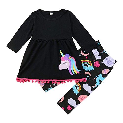 Toddler Baby Girls Pony Long Sleeve Pom Poms Shirt & Leggings Pant Clothes Set (Black, 4T-5T) (5t Girl Clothing)