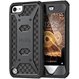 ULAK iPod Touch 6 Case,iPod Touch 5 Case,[KNOX ARMOR] Dual Layer Hybrid Protective Cover with Belt Clip Holster  - Retail Packaging - Black