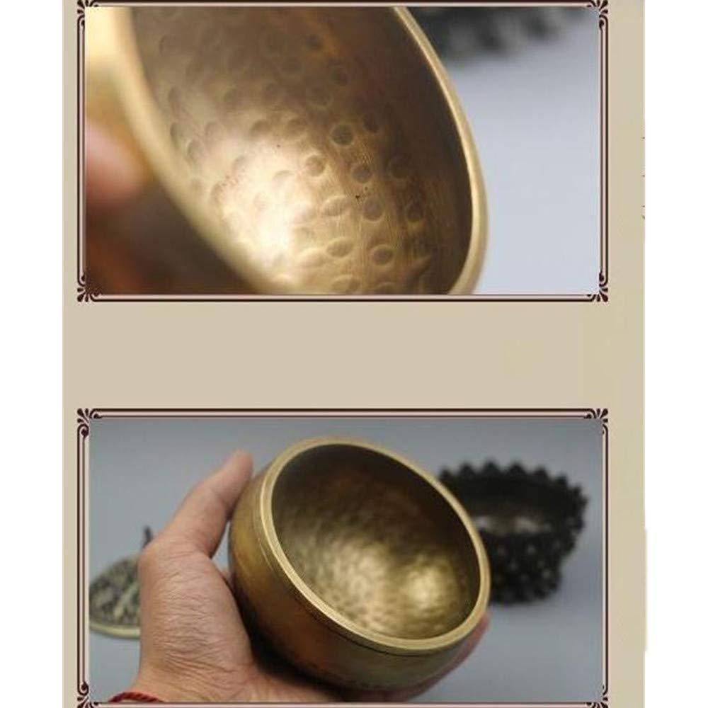 Meditazione Relax Tibetano ode Handmade Ottone Lin Grain Buddha Ciotola Suono Girare Attraverso Ciotole Bobon Bronzo Carillon 8CM LLCP Yoga Bowl