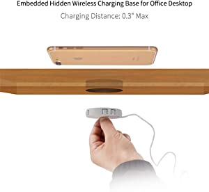 "DIY Embedded Hidden Wireless Charger, HEHEDA 10W 7.5W 5W USB3.0 Fast QI Wireless Charging Station with 3M Film for Desk Hole with Dia.2.95"", Compatible with iPhone11/11Pro, iPhone X/XS/XR/8/8 Plus"