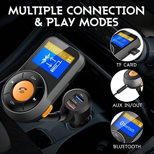 RONXS Bluetooth FM Transmitter for Car Wireless Radio Adapter W QC3.0/2.4A Dual USB Quick Charge, Auto Scan, Power On/Off, Replaceable Fuse, Handsfree Calling, Support SD/TF Card, AUX Out - Orange by RONXS (Image #3)