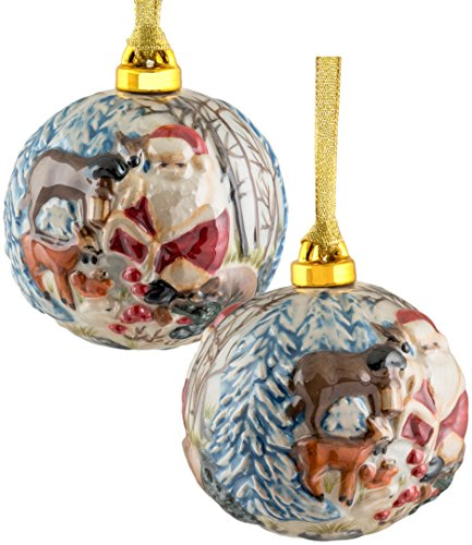 Christmas Ornaments, Hand Painted Porcelain Santa And Reindeer Ball Ornament