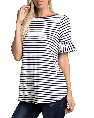 LEANI Women's Short Sleeve Striped Bell Sleeve Loose T-Shirt Summer Casual Cotton Basic Top Blouse