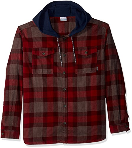 (Columbia Men's Flare Gun Flannel Hoodie, Elderberry Check, L)