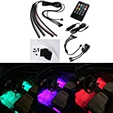 Xcellent Global 4pcs 12 Inch DC 12V Multi-color 8 Color Car Interior Light LED Underdash Lighting Kit with Sound Active Function and Wireless Remote Control, Car Charger Included AT010