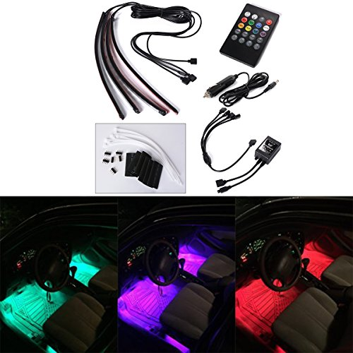 Xcellent Global 4pcs 12 Inch 8 Color Car Interior Light LED Decoration Atmosphere Neon Light Strip Under Dash Light Kit with Sound Active Function Wireless IR Remote Control DC 12V Car Charger AT010 (Led Strips For Cars compare prices)