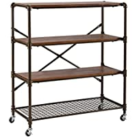 O&K Furniture 4-Shelf Industrial Bookcase Storage Organizer on Wheels, Rustic Standing Shelf Units, Brown Finish