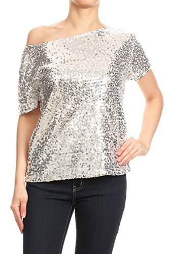 Anna-Kaci Womens Short Sleeve One Shoulder Sexy Sequin Top Blouse, Silver, Large (Sequin One)