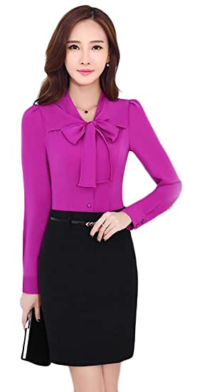 a38191582a6 ainr Women s New Chiffon Slim Fit Professional Color Bow Tie Blouse Top 1 XS