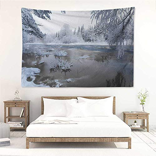 alisos Winter,Tapestries for Sale Nordic Snow Nature Lake Idyllic Finland ICY Cold Forest Scandinavian Landscape 93W x 70L Inch Mattress, Tablecloth White Dark Taupe ()
