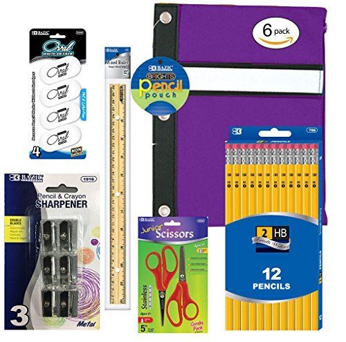 School Supplies Bundle - Package Includes 12 #2 Yellow Pencils 1 Pencil Case (Colors May Vary) 4 Erasers 6 Metal Sharpeners 1 12