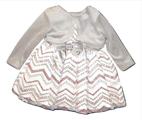 Youngland Baby Girls Glittery Chevron Dress & Velvet Shrug Set, Silver (12mo) -