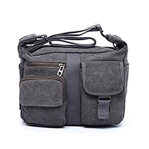 ENKNIGHT Women Shoulder Bags Casual Handbag Travel Canvas Bag Messenger Sling Bag Gray