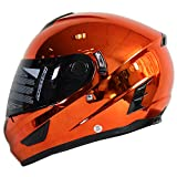 NENKI Helmets NK-852 Full Face Motorcycle Helmets Dot Approved With Dual Visors (Large, Chrome Orange)