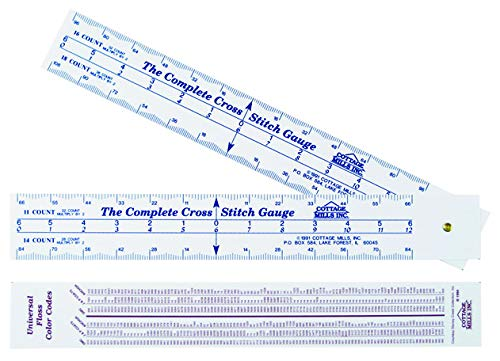 Magnet Stitch Cross - Complete Cross Stitch Gauge - Scales for 12 fabric counts - Count stitches, determine dimensions and where to start designBonus floss number comparison chart