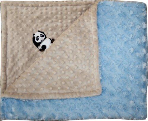 - Lil' Cub Hub Minky Blanket, Mocha Dot/Blue Rosebud, Panda