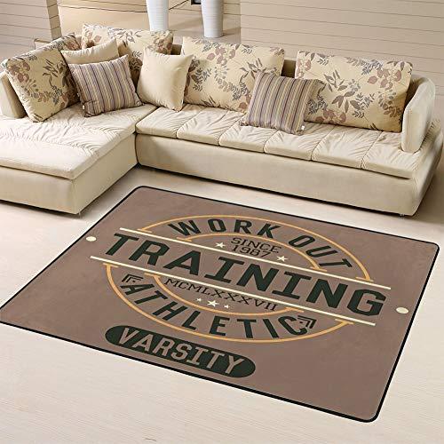 Randell Bath Mat Non Slip Trening Work Out Badge Applique Funny Doormat Indoor Outdoor Rug 63 x 48 in from Randell