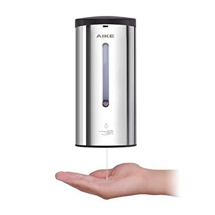 Aike Ak1205 Wall Mounted Touchless Polished Stainless Steel Automatic Sensor Liquid Soap Dispenser For Bathroom Kitchen Large Capacity 24oz 700ml